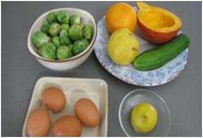 ингредиенты для салата из тыквы и брюссельской капусты